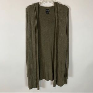 Eileen Fisher Olive Green Hooded Cardigan Small